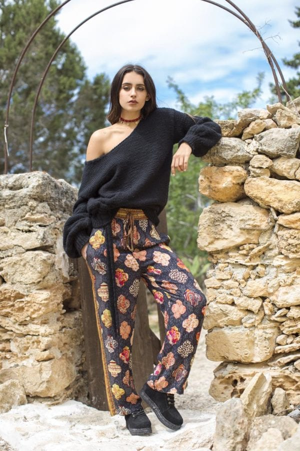 Bohemian Flared Trousers - Black
