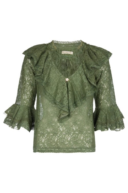 LACE BLOUSE WITH RUFFLES - GREEN