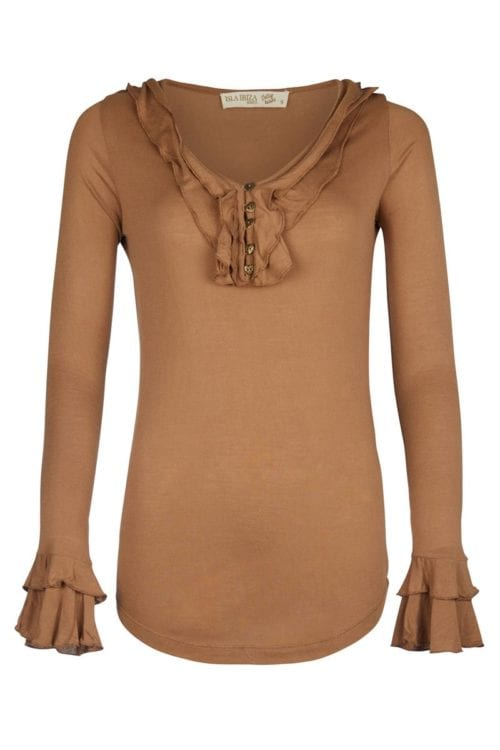 BASIC V-NECK TOP WITH RUFFLES - BROWN