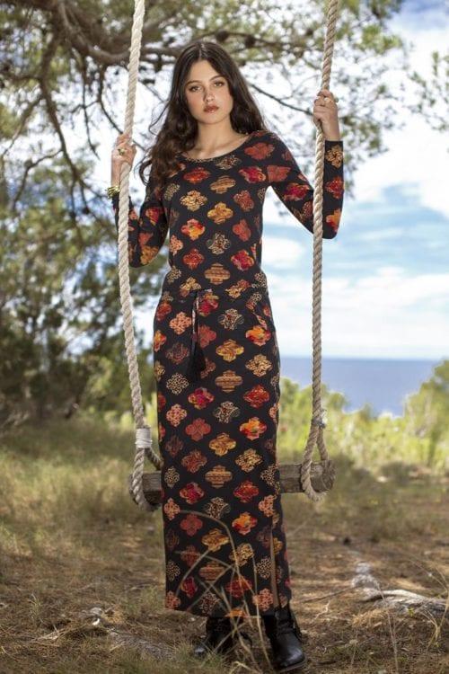 LONG STRETCHABLE MULTI COLOR DRESS - BLACK