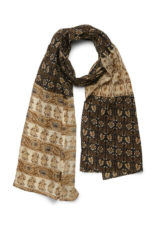 Allover Printed Bohemian Scarf - Black