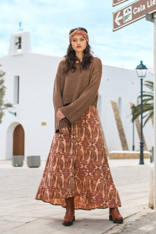 BOHEMIAN PAISLEY MAXI SKIRT - ORANGE
