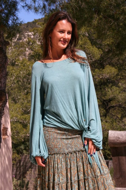 WIDE TOP WITH PUFFED SLEEVES - TURQUOISE