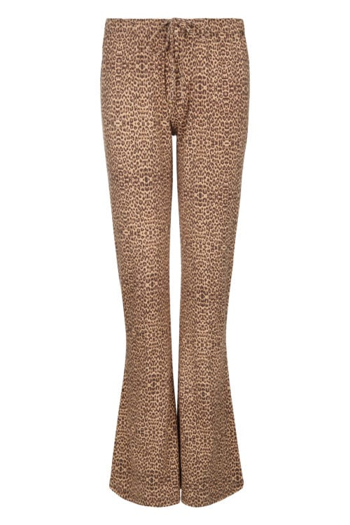 Leopard Printed Flared Trousers - Brown