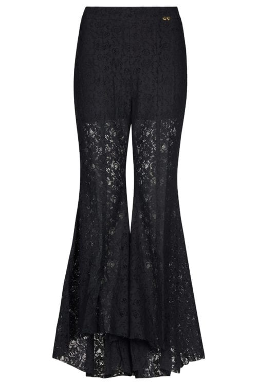 Wide Flared Lace Trouser – Black