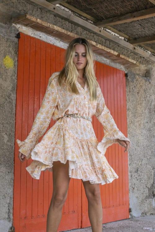Short Dress Floral Printed Peach - Orange-Yellow