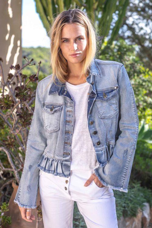 Short Ruffled Jeans Jacket