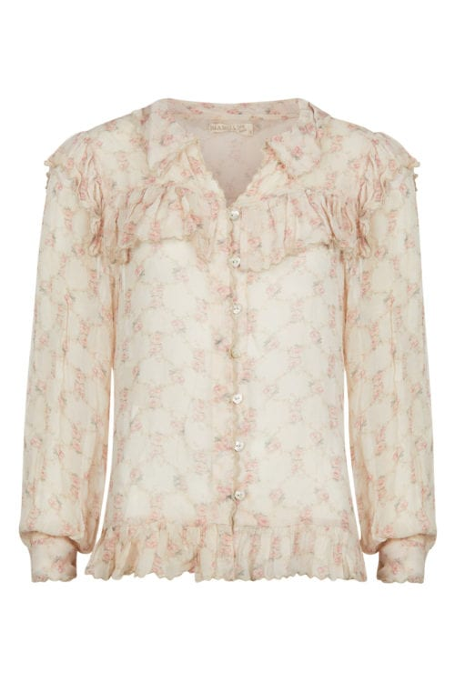 Ruffle Blouse Flowers Vintage Blush – Cream