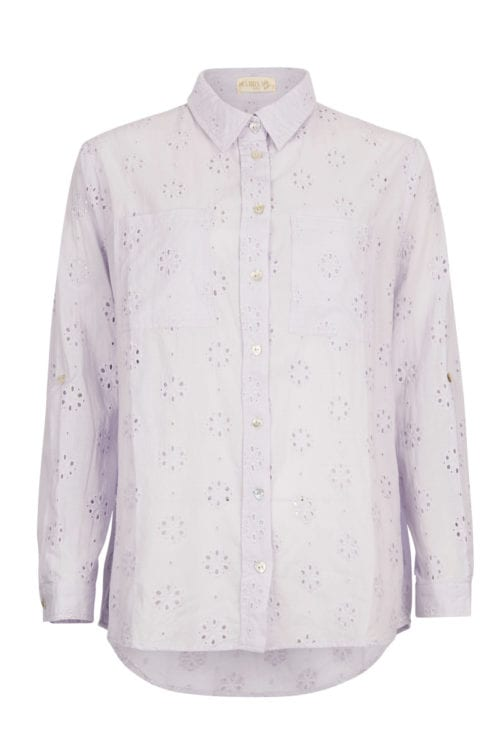 Openwork Embroidery Blouse Lila - Purple