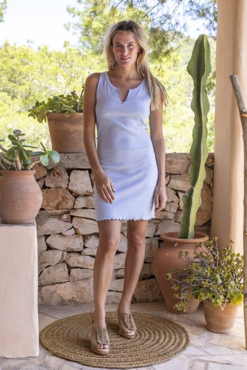 Uni Short Dress Sleeveless Sky - Blue