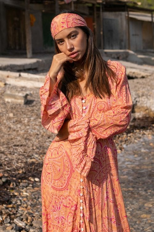 Bohemian Paisley Maxi Dress – Orange