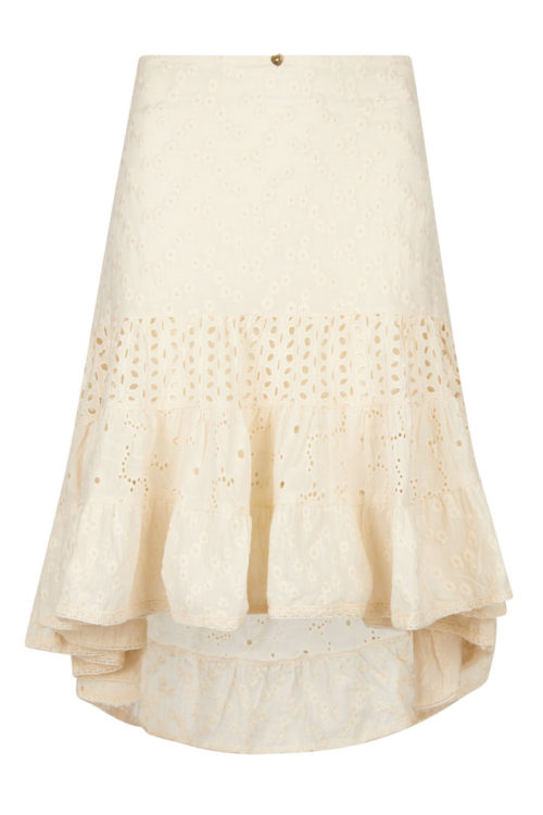 Midi Floral Embroidery Skirt - Cream