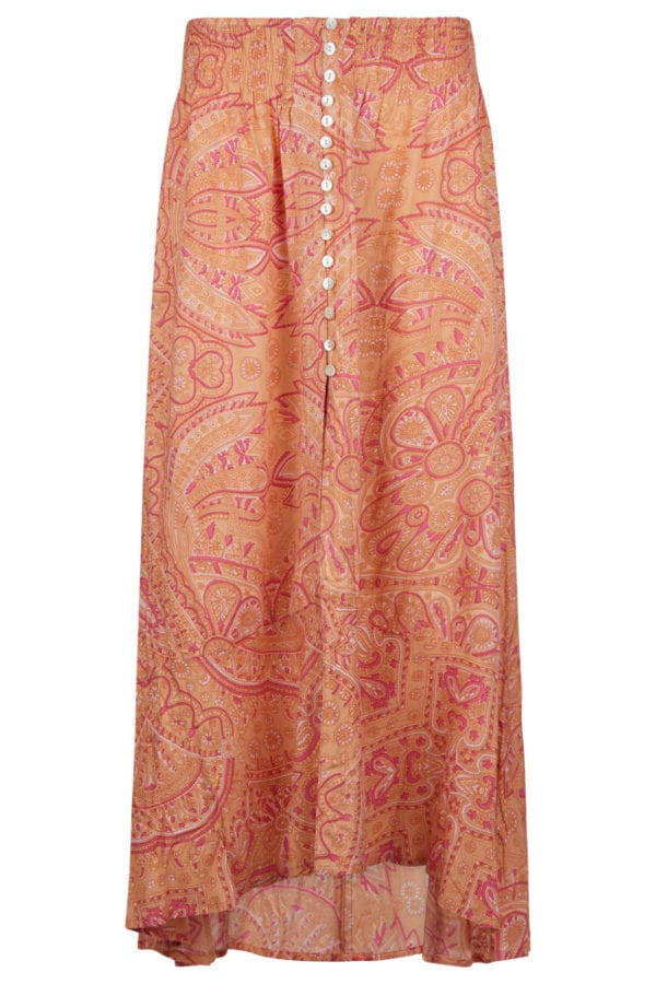Bohemian Paisley Maxi Skirt – Orange
