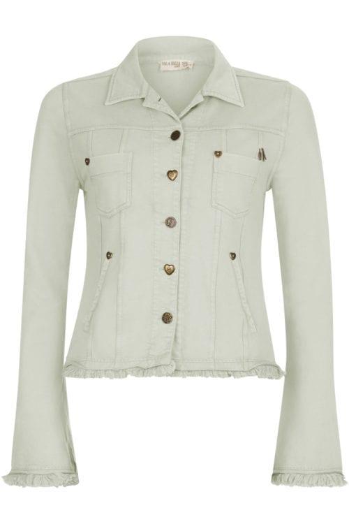 Short Fitted Fringe Jacket Mint - Green