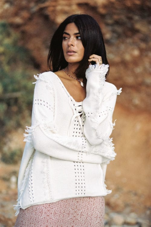 Knitted Jumper Frayed- Cream