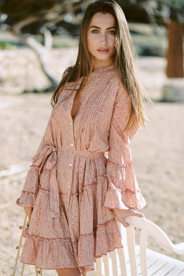 Bohemian Short Dress Floral Printed Terra - Cream