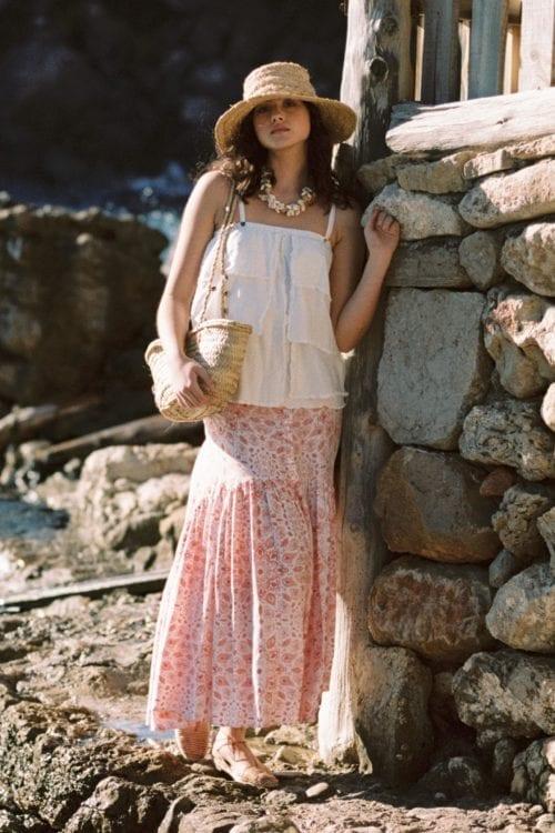 Boho Maxi Skirt Mandala Flower Print - Orange