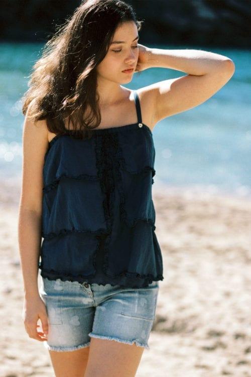 Frayed Denim Shorts Faded Hearts - Blue