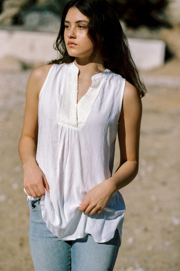 Sleeveless Blouse Sa Carroca - White