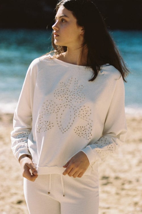 Broderie Sweater Salines - White