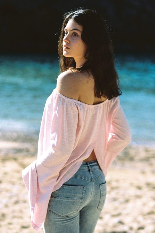 Off Shoulder Top Long Sleeves Guapa - Pink