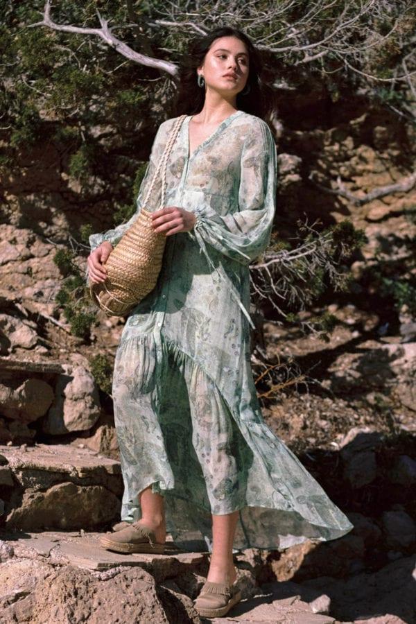 Bohemian Maxi Dress Mermaid - Green