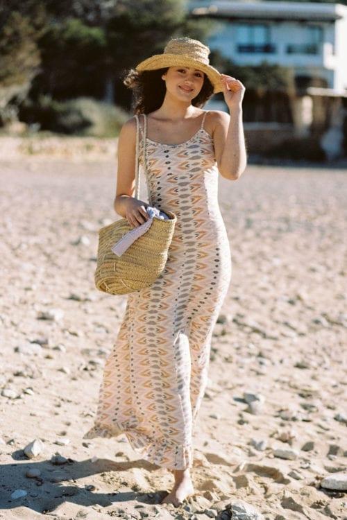 Sleeveless Maxi Dress Aztec - Cream