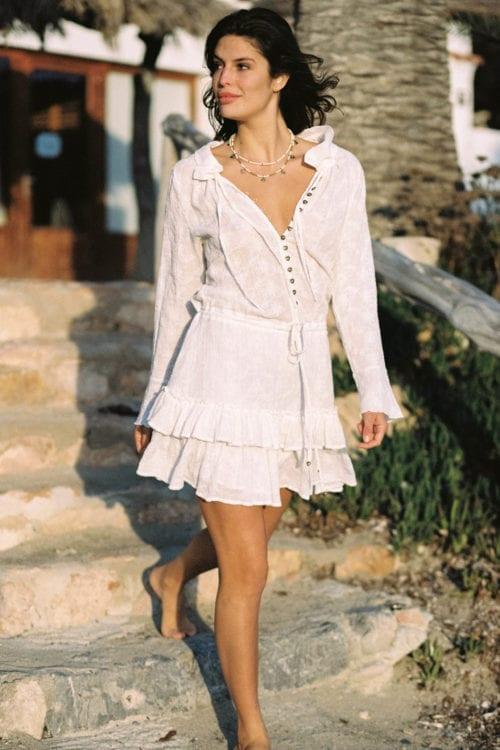 Boho Short Dress Gertrudis - White