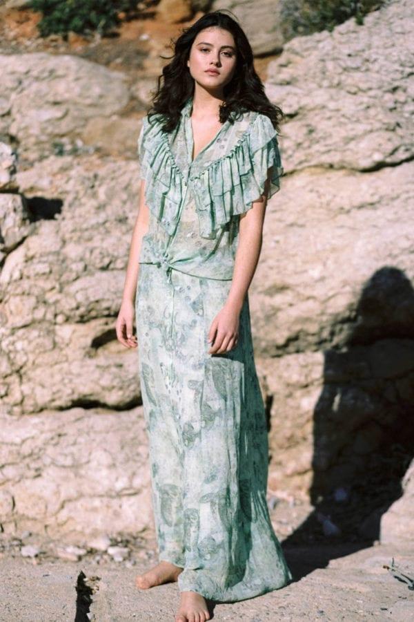 Bohemian Maxi Skirt Mermaid - Green